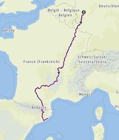 Karte / Bonn Barcelona auf Jakobswegen