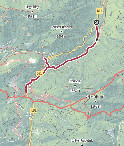 Karte / Ferlach – Tscheppaschlucht