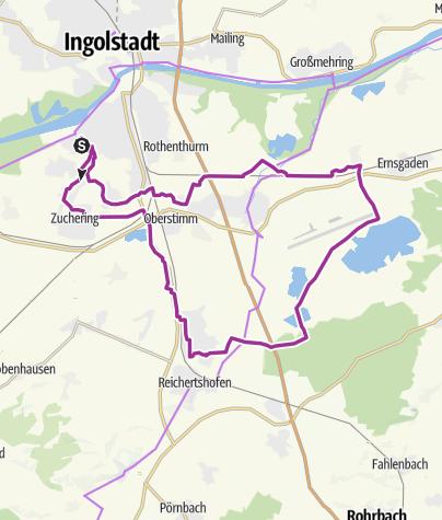 Karte / 27. September 2016 Ingoradler e-Bike Tour Flugplatz Manching/Westenhausen