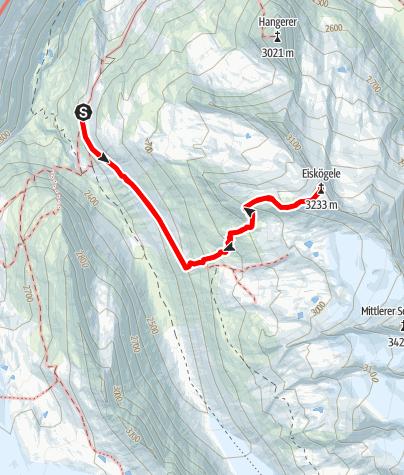 Karte / Eiskögele von der Langtalereckhütte
