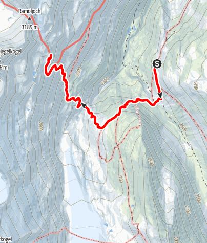 Karte / Langtalereckhütte/Hochwildehaus zum Ramolhaus