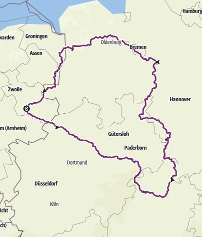 Karte / Korbach-Kassel Weser Ammerlan 1100 km