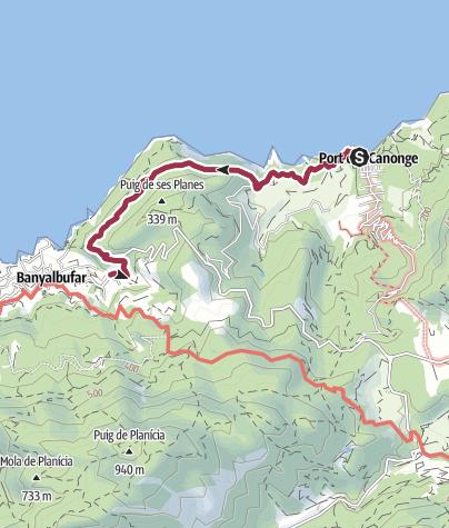 Karte / von Port des Canonge nach Banyalbufar und zurück