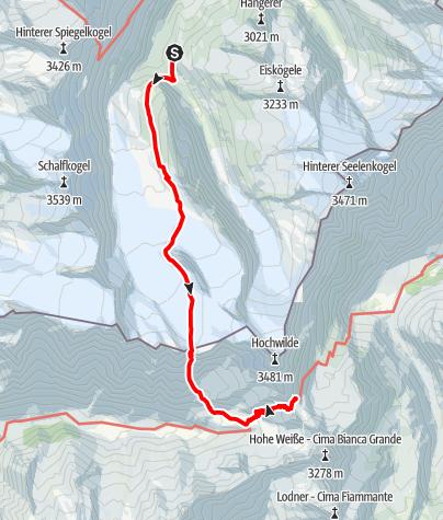 Karte / Langtalereckhütte/Hochwildehaus zur Stettiner Hütte/ins Pfossental übers Gurgler Eisjoch