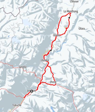 Karte / Verborgenes Königreich Mustang - Lo Manthang Trekking