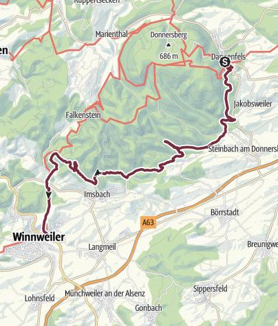 Carte / Pfälzer  Höhenweg  Dannenfels