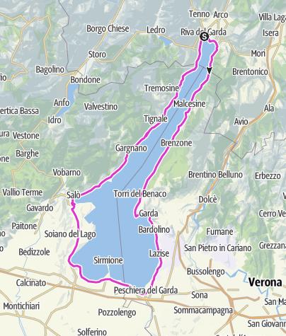 Karte / Rund um den Gardasee im Uhrzeitgesinn