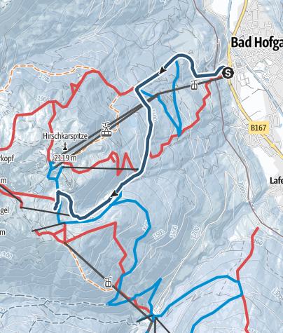 Karte / Hamburger Skihütte - Zustieg von Bad Hofgastein über die Skipiste