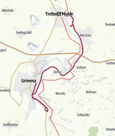Karte / Lutherweg Sachsen: Trebsen-Grimma-Klosterruine Nimbschen-Grimma