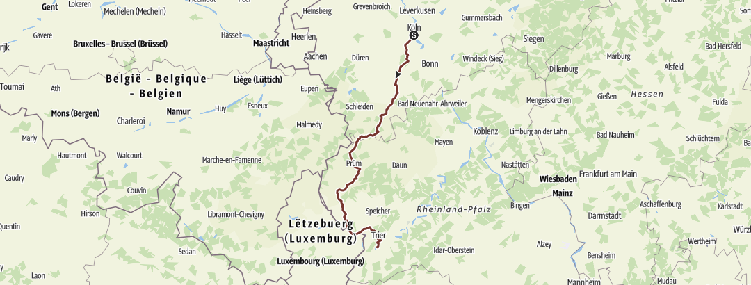 Karte / Jakobsweg von Köln nach Trier