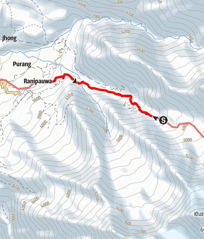 Map / Annapurna circuit - Camping place behind Thorong La - Muktinath trek