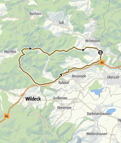 Map / Zu Pferd: Richelsdorf - Machtlos Rundtour