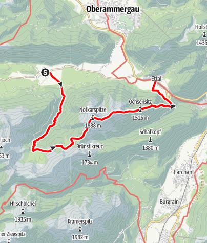 Karte / Bergtour - Notkarspitze - Graswang