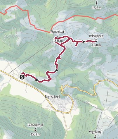 Karte / Osterhofen - Lacherspitz - Wildalpjoch - Wendelsteinhaus - Osterhofen