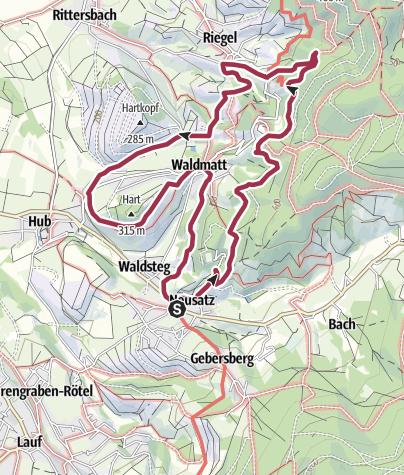 Karte / Burg Windeck und Waldmatt; Rundwanderweg 4 Neusatz