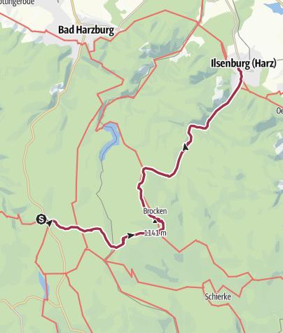 Karte / Wunderschöner Harz: Vom Torfhaus zum Brocken nach Ilsenburg