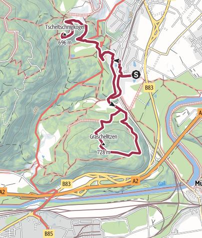 Karte / Tscheltschnigkogel 696 m, Graschelitzen 728 m, Villach