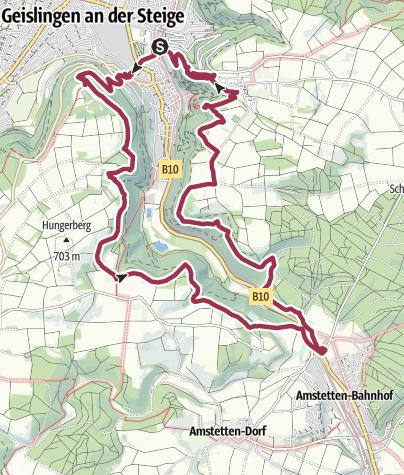 Karte / Wintertour auf der Höhe um die Geislinger Steige