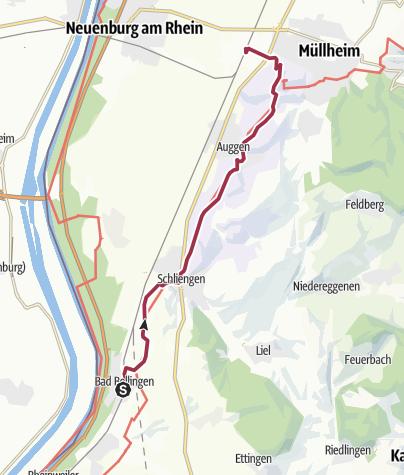 Karte / Markgräfler Wiiwegli – Etappe von Bad Bellingen nach Müllheim