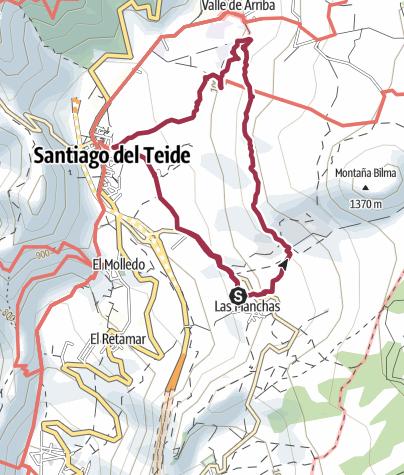 Karte / 30. Januar 2017 El Cielo Montagswanderung - Mandelblüte - Las Manchas - Santiago del Teide