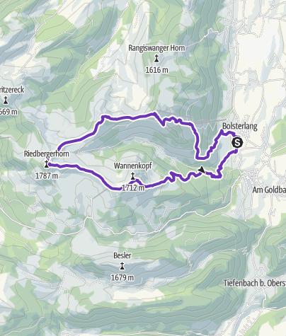 Karte / Bolsterlang - Biberkopf - Ochsenkopf - Riedberger Horn - Wannenkopf - Sonderdorf