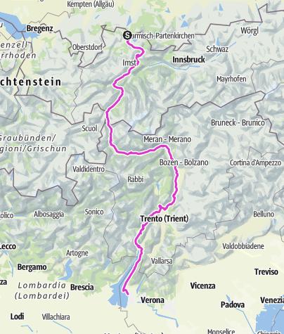 Karte / Pflach - Meran - Molvenosee - Bardolino