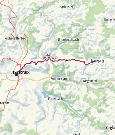 Karte / Bhf Hersbruck - Wengleinpark in Eschenbach - Bhf Etzelwang
