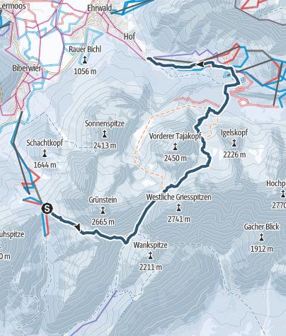 Karte / Grünstein Umrundung mit Lift Unterstützung in Biberwier