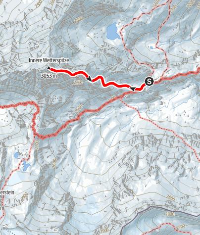 Map / Gipfeltour zur Inneren Wetterspitze, 3053m