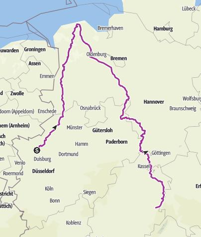 Karte / Wesel-Nordseeküste-Kassel-Ulfen