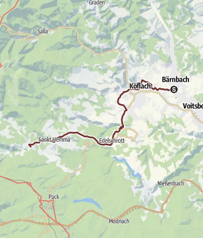 Karte / Romweg 1. Etappe Bärnbach - Hirschegg