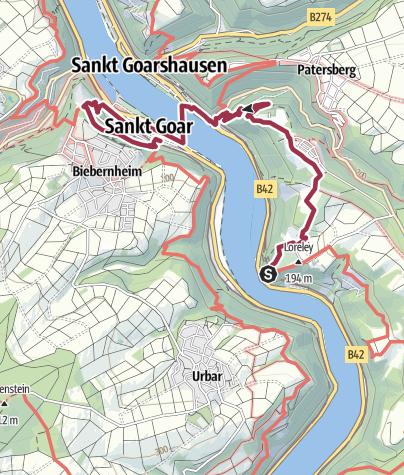 Mittelrheintal Karte.Mittelrhein Von Der Loreley Zur Burg Rheinfels Wanderung