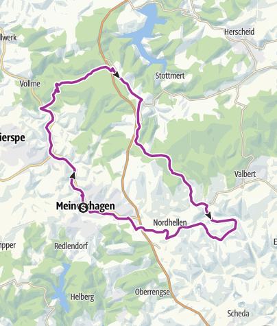 Karte / Rundtour Meinerzhagen -- Volmetal - Ebbegebirge