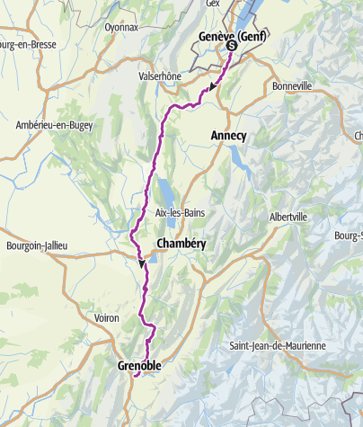 Karte / Genf-Grenoble VARIANTE