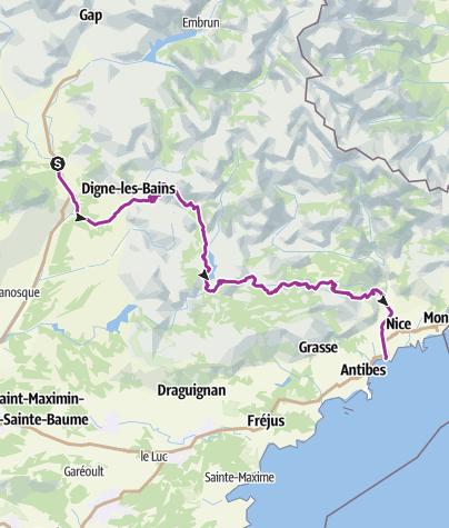Karte / Sisteron-Nice PLANUNG