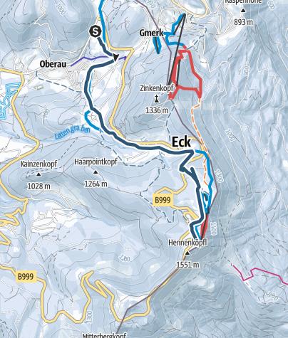 Karte / Skitour - von Oberau aufs Roßfeld