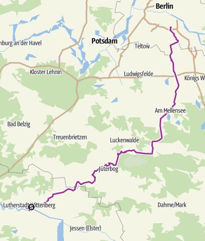 Karte / Lutherstadt Wittenberg - Zossen - Berlin