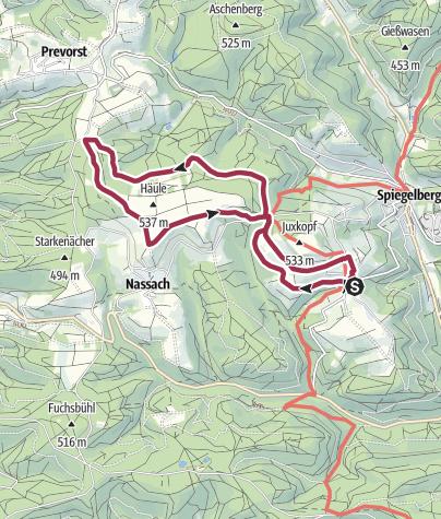 Karte / Jux - Zollstock - Spielplatz Prevorst - Nassacher Ebene - Jux