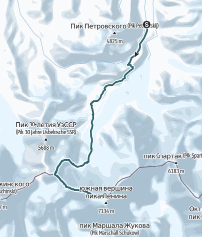 Karte / Pik Lenin (7134m) über die Normalroute