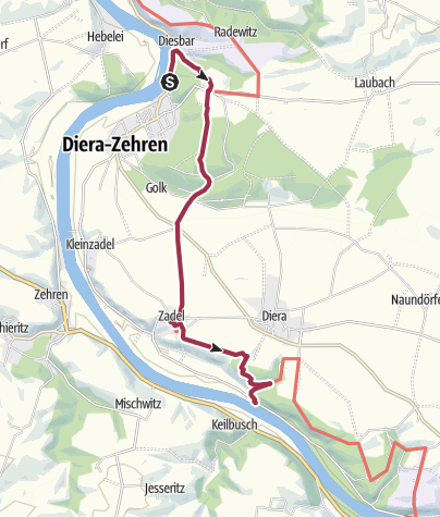 Karte / Sächsischer Weinwanderweg (Diesbar-Seußlitz-Löbsal-Zadel-Karpfenschänke)