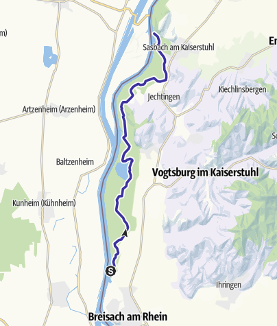 Karte / DEU - Kanu - Breisach nach Sasbach
