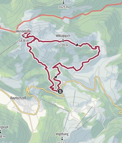 Cartina / Vom Wildalpjoch (1720m) zum Wendelstein (1838m)