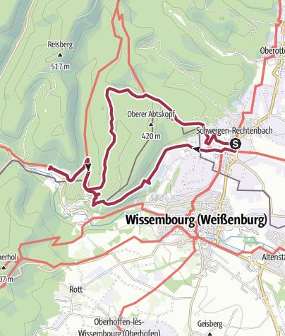 Karte / Grenzwege - Rundwanderung von Schweigen-Rechtenbach nach St. Germanshof und zurück