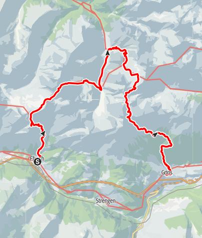 Karte / Tourenplanung Rundkurs Flirsch 04.04 2017