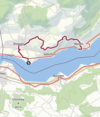 Karte / Höri Erlebnispfad  Öhningen - Klingenbachschlucht - Wangen