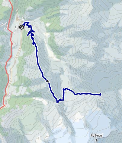 Kaart / Greina Alta 1. Tag: Medelserhütte (2.524m) von Curaglia (1.332m) über Piz Ault (2.470m)