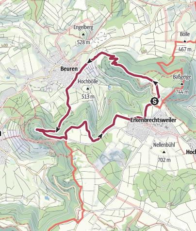 Karte / Wandern: Erkenbrechtsweiler-Beuren-Hohenneuffen