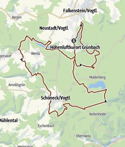 Karte / Tour 2 Geigenbachtsp. - Korna - Schöneck Muldenbergertalsperre - Grünbach