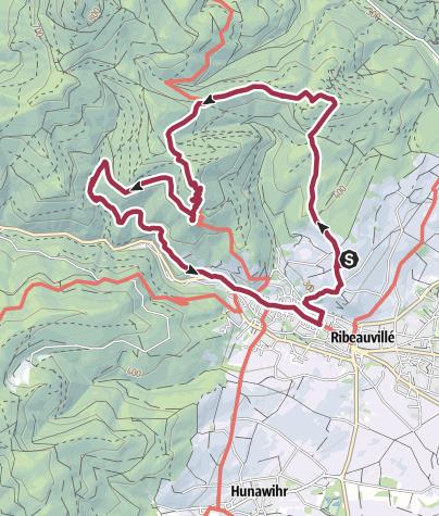 Karte / Rundwanderung um Ribeauvillé