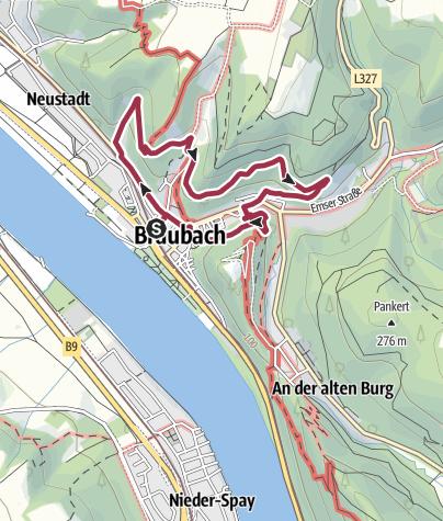 Karte / Burgenweg in Braubach